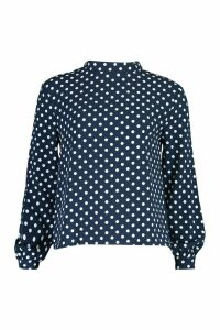 Womens Polka Dot High Neck Blouse - Navy - 8, Navy