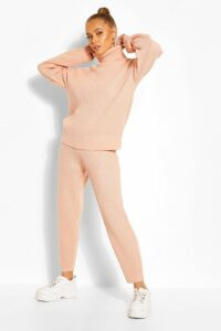 Womens Roll/Polo Neck Knitted Jogger Lounge Set - Pink - M, Pink