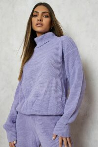 Womens Roll/Polo Neck Knitted Jogger Lounge Set - Purple - M, Purple