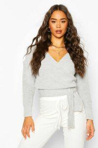 Womens Wrap Knitted Jumper - Grey - M, Grey