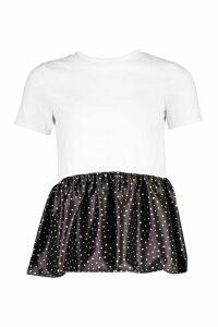 Womens Petite Satin Polka Dot Peplum Detail T-Shirt - Black - M, Black