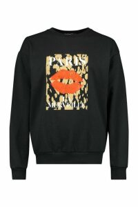 Womens Petite Leopard Lips Slogan Jumper - Black - M, Black