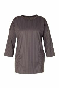 Womens Plus Side Pocket Jersey Tunic - Grey - 20, Grey