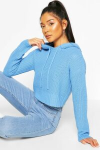 Womens Knitted Hooded Cropped Jumper - Blue - L, Blue