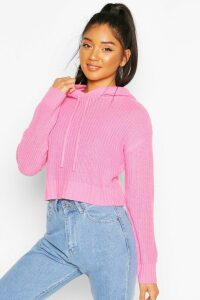 Womens Knitted Hooded Cropped Jumper - Pink - M, Pink
