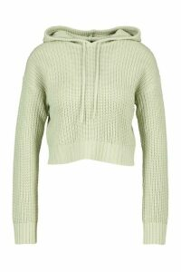 Womens Knitted Hooded Cropped Jumper - Green - L, Green