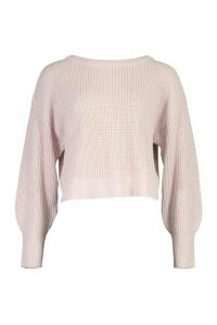 Womens Slash Neck Knitted Jumper - Purple - M, Purple