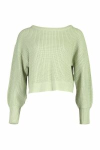 Womens Slash Neck Knitted Jumper - Green - L, Green
