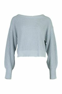 Womens Slash Neck Knitted Jumper - Blue - M, Blue