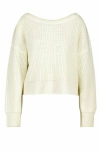 Womens Slash Neck Knitted Jumper - White - M, White