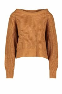 Womens Slash Neck Knitted Jumper - Beige - S, Beige