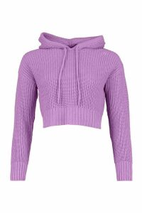 Womens Knitted Hooded Crop Jumper - Purple - L, Purple