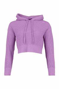 Womens Knitted Hooded Crop Jumper - Purple - M, Purple