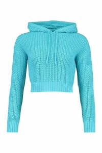 Womens Knitted Hooded Crop Jumper - Blue - L, Blue