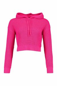 Womens Knitted Hooded Crop Jumper - Pink - M, Pink