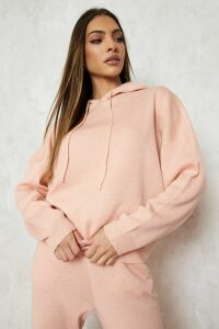 Womens Hoody Knitted Lounge Set - Pink - M, Pink