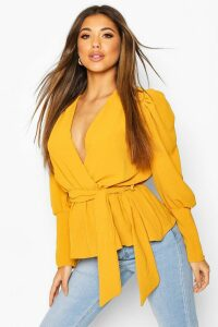 Womens Puff Sleeve Wrap Blouse - Yellow - 14, Yellow