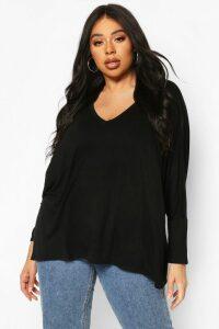Womens Plus Boxy Slouchy T-Shirt - Black - 24, Black