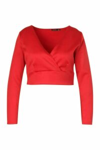 Womens Plus Scuba Wrap Top - Red - 16, Red