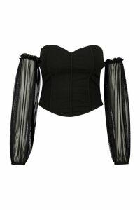 Womens Plus Off The Shoulder Corset Detail Top - Black - 20, Black