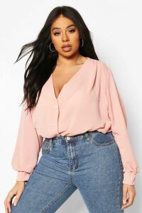Womens Plus Woven Button Through Collarless Shirt - Pink - 20, Pink