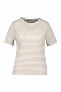 Womens Plus Tonal Stripe Rib T-Shirt - Beige - 22, Beige