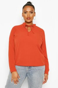Womens Plus Tie Neck Plunge Blouse - Orange - 20, Orange