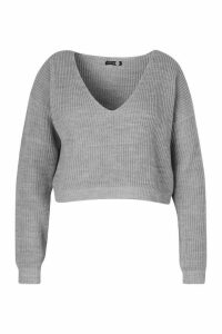 Womens Plus V-Neck Fisherman Crop Jumper - Grey - 24/26, Grey
