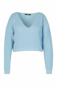 Womens Plus V-Neck Fisherman Crop Jumper - Blue - 24/26, Blue