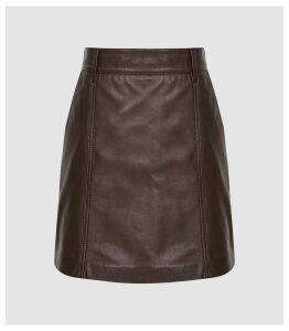 Reiss Mimi - Leather Mini Skirt in Oxblood, Womens, Size 14