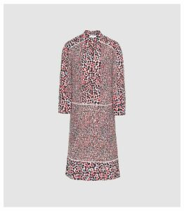 Reiss Anush - Floral Printed Tea Dress in Red, Womens, Size 16
