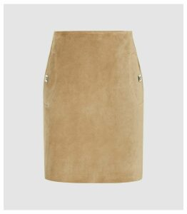 Reiss Pippa - Pocket Detail Suede Mini Skirt in Sand, Womens, Size 14