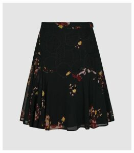 Reiss Maeja - Floral Mini Skirt With Lace Detailing in Black, Womens, Size 16