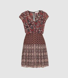 Reiss Marcella - Patchwork Printed Mini Dress in Red, Womens, Size 18