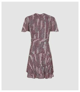 Reiss Natalie - Printed Mini Dress in Berry, Womens, Size 18