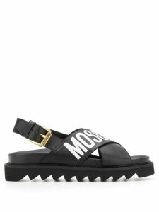 Love Moschino ridged sole logo strap sandals - Black