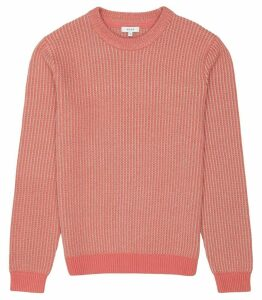Reiss Filbert - Textured Crew Neck Jumper in Hot Pink, Mens, Size XXL