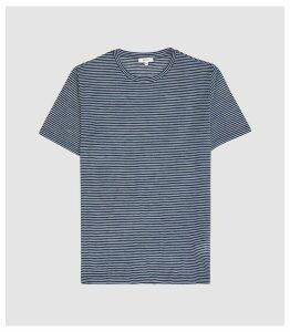 Reiss Ridley - Striped Crew Neck T-shirt in Indigo, Mens, Size XXL