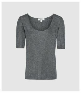 Reiss Tabby - Metallic Knitted Top in Blue, Womens, Size XXL