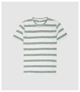 Reiss Felton - Striped Crew Neck T-shirt in Sage, Mens, Size XXL