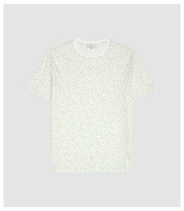Reiss Star - Terrazzo Printed Crew Neck T-shirt in White, Mens, Size XXL