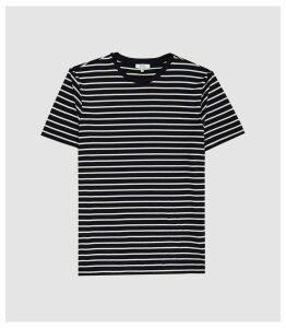 Reiss Holborn - Striped Crew Neck T-shirt in White/navy, Mens, Size XXL