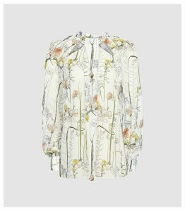 Reiss Ingrid - Floral Printed Blouse in White, Womens, Size 14