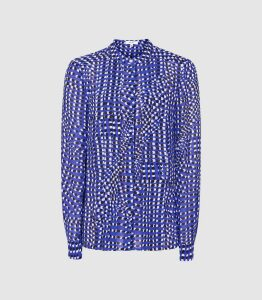 Reiss Lea - Spot Printed Blouse in Blue, Womens, Size 14
