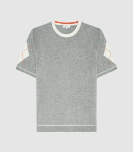 Reiss Bailey - Argyle Detailed Top in Grey, Mens, Size XXL