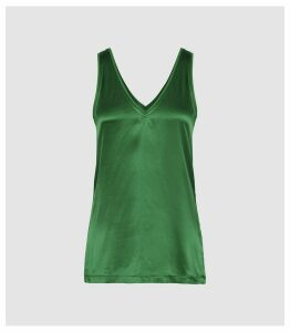 Reiss Darcia - V-neck Silk Front Vest in Green, Womens, Size XL