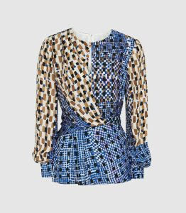 Reiss Selma - Printed Wrap Front Blouse in Blue, Womens, Size 14