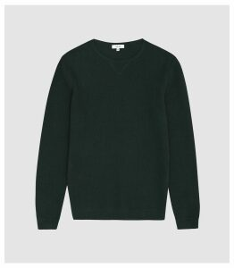 Reiss Carnsdale - Textured Crew Neck Jumper in Dark Green, Mens, Size XXL