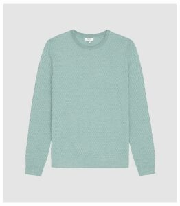 Reiss Randolf - Textured Crew Neck Jumper in Mint, Mens, Size XXL