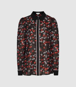 Reiss Poppy - Floral Printed Blouse in Red/ Black, Womens, Size 16